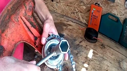 """农村小哥发明""""链条""""修剪机,20块钱造一个,一年能省上万"""