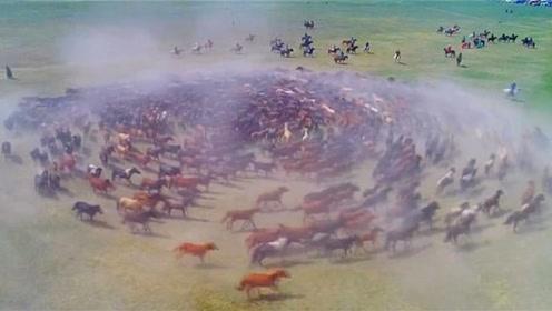 壮观!在中国传统节日期间,数百匹马齐声奔腾形成巨大螺旋