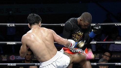 黑人拳王抬腿就砍,被体能怪物盯上踢废腿KO,老外气的捶擂台