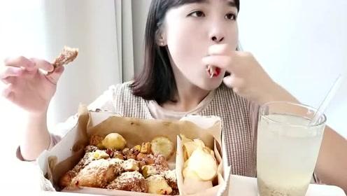韩国大胃王吃炸鸡腿鸡翅,吃完鸡腿吃鸡翅,皮香肉嫩的非常美味!