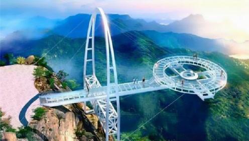 中国最刺激的玻璃栈道,只有几根钢架支撑在悬崖上,你敢上去吗?