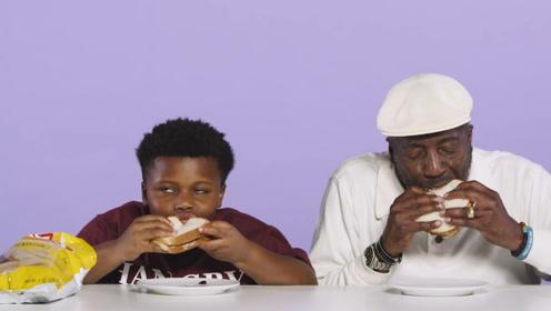 爷孙回味经典挑战过去的美食,孩童逗笑全场