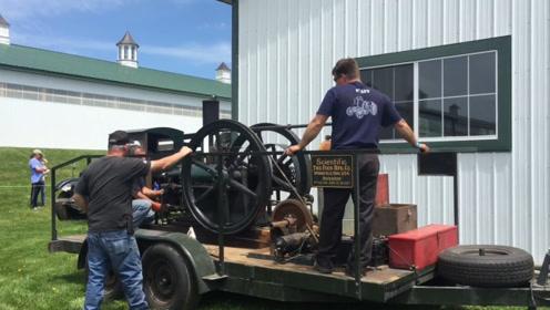 老外收藏100年前的发动机,如今还能启动,质量太好了!