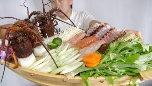 """男子买3只龙虾,做成""""龙虾寿司船"""",吃起来真是太美味"""