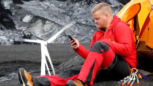 露营没法充电?国外发明便携风力发电机,竟还能给特斯拉充电_1