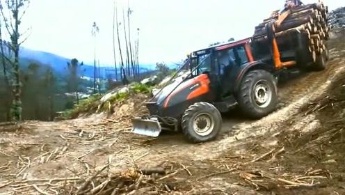 拖拉机司机的操作真让人佩服,崎岖山路,稳定性还这么好
