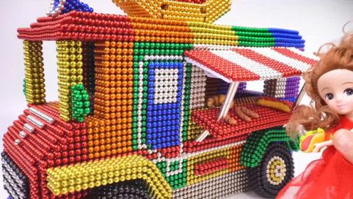 教萌娃小可爱们用磁力巴克球制作热狗餐车,小巧而精致!