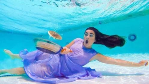 国外美女能在水下生活,穿衣服化妆吃饭,究竟怎么做到的