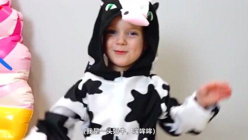 萌娃们可真会玩呢!好可爱的小奶牛呀!小家伙真是萌萌哒!