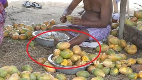 看印度人制作芒果干的过程, 感觉不会想吃芒果干了