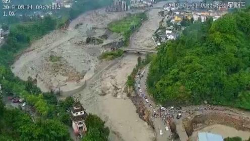 航拍汶川灾情:已转移游客40830人 三江镇仍有楼房处在水中