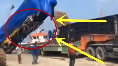工人们正在卸货时,突然却全部拔腿就跑,现场瞬间变成废墟!
