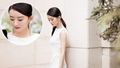 赵丽颖产后首次亮相,一身白色长裙优雅亮相 当妈后更美了