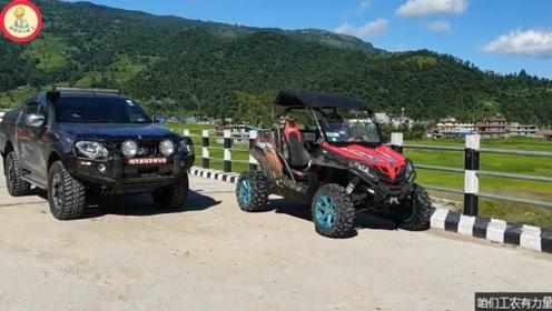 三万元的国产四驱全地形摩托车,老外开它跟三菱帕杰罗一起下场地