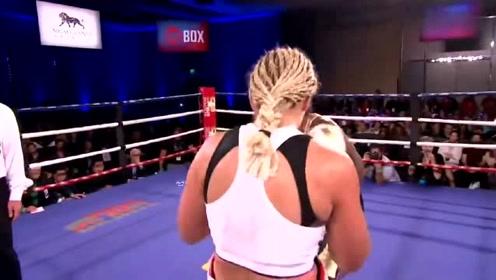 差距太大,黑人女拳王狂揍对手