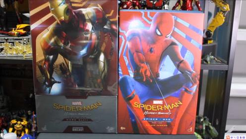 蜘蛛侠和钢铁侠马克47共同拆箱体验,人脸造型逼真,哪个更高级