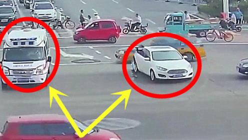 私家车等红灯遇急救车,司机闯红灯让行,并将车辆截停开道!