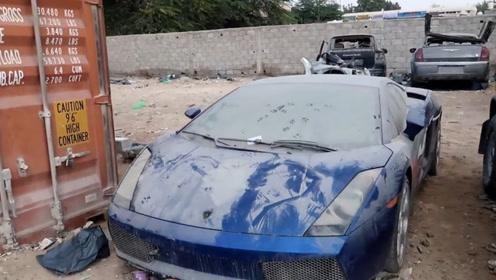 小哥去迪拜废弃场,捡到一辆兰博基尼,打开车门后才是惊喜开始