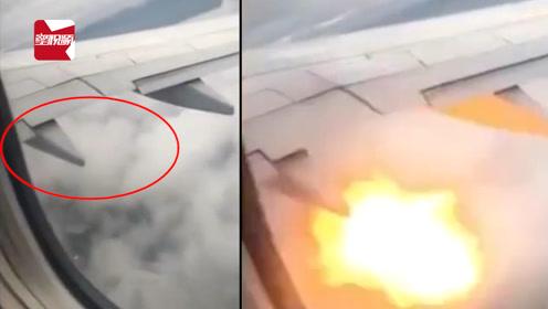 波音737起飞不久遭鸟击致引擎起火,空中频现团团火球:紧急降落