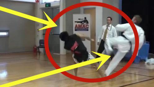散打对战跆拳道,最后被一个回旋踢当场踢晕,真是太精彩了