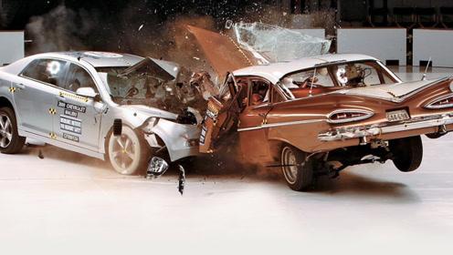 """60年前的""""老爷车"""",和现在的豪车有何差距?撞击后高下立判!"""