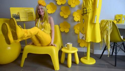 美女痴迷黄色30年,生活中全都是黄色,网友:黄皮肤男人有福了