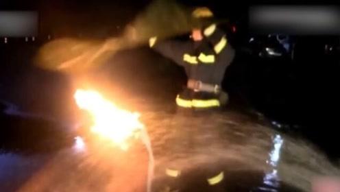 致敬!面对向外喷火的煤气罐 只有他们敢于与火共舞