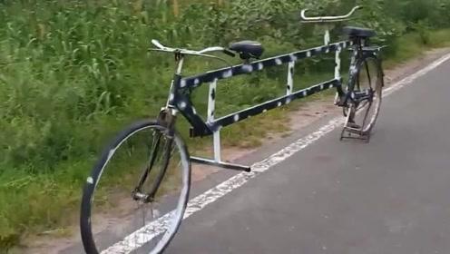 小伙把自行车改成4米长,这样上路确定会方便吗?