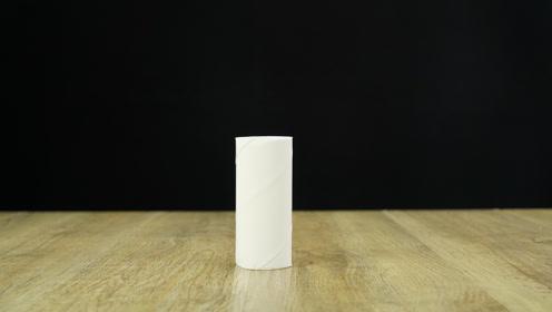 魔力科学小实验,掉落的纸筒竟能自己站起来,怎么做到的?