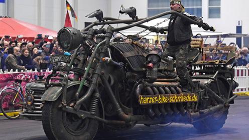 3辆难得一见的巨型摩托车,第2辆装备坦克发动机,一般人开不了