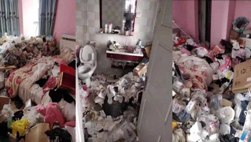 """""""垃圾""""房!浙江绍兴一公寓内租户留下满屋垃圾,厕所床上全都是"""