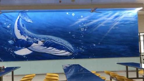"""酸了!师生手绘海底世界,高校食堂秒变""""海洋馆"""""""