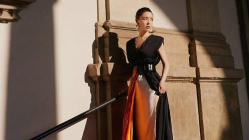张静初现身米兰时装周 黑色长裙雅致大气