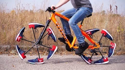 把跑步鞋当轮胎,老外将丢失车轮的山地车这样改造,能骑行吗