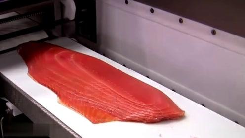 实拍国外三文鱼流水线,还没等鱼有反应,就被切成了生鱼片!