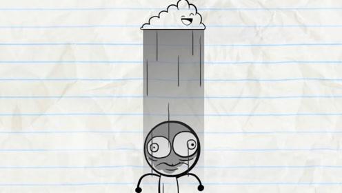 乌云爱上铅笔人,一直在他头上下雨,不小心一个闪电出来,悲剧了