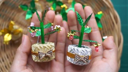 彩带编织小窍门,迷你吉祥树的制作方法,包教包会!