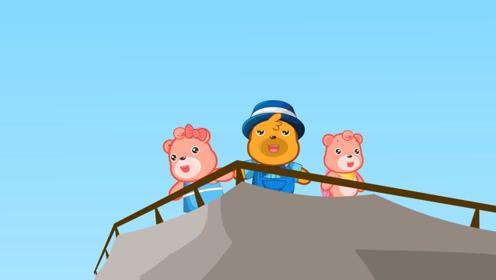 嘟拉安全教育 亲子爬山日登高望远,注意安全小心下山!