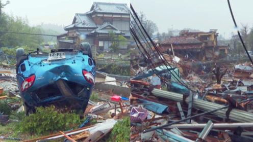 日本千叶县突发龙卷风致1死 龙卷风过后车辆被吹翻 瓦片遍地