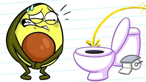 上厕所不小心进入神秘空间,水果人玩的很嗨,出来才发现尿急!