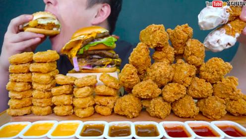 韩国重量级吃播:牛肉汉堡+20个炸鸡腿,秒吞像变戏法一样