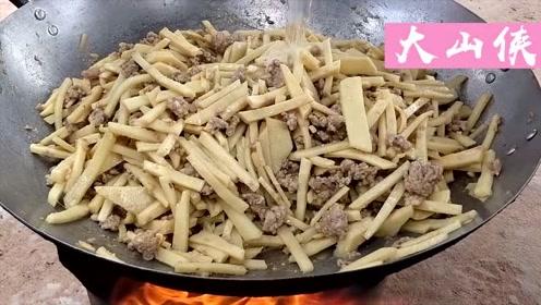 印度大厨用竹笋烧猪肉,特别入味,3斤都不够吃