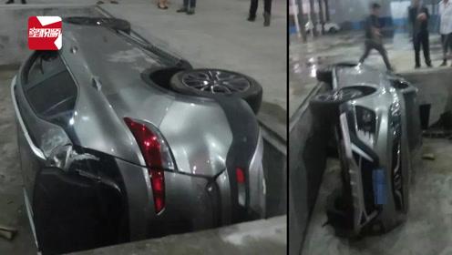 """浙江一司机连人带车翻入大坑,整辆车被""""吞""""!车主:我好害怕"""