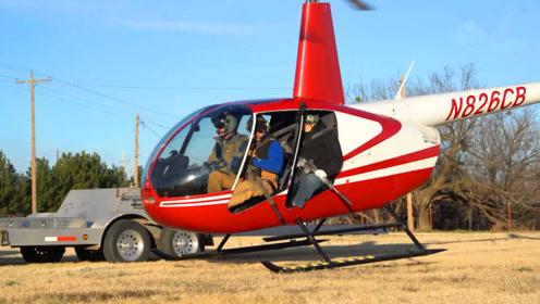 国外野猪泛滥,两父子驾驶直升机疯狂扫射,这么多什么时候能吃完