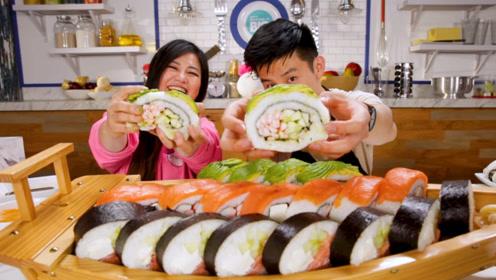 小哥制作巨大寿司船,多种口味任君选择,一次让你吃个够!