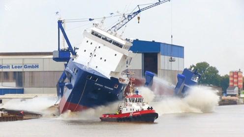 实拍:万吨巨轮下水的震撼瞬间