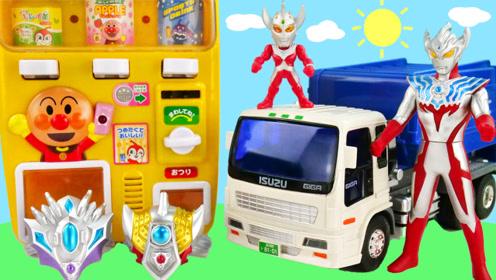 奥特曼的垃圾运输车发现奥特手环,垃圾扔到垃圾桶的玩具故事