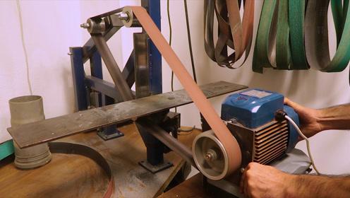 小伙废物利用把水泵改装,皮带研磨机,改装过程还真有点技术含量