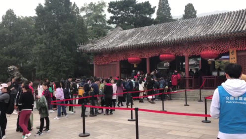 北京香山迎红叶季首个高峰日 上午就有三万余名游客入园