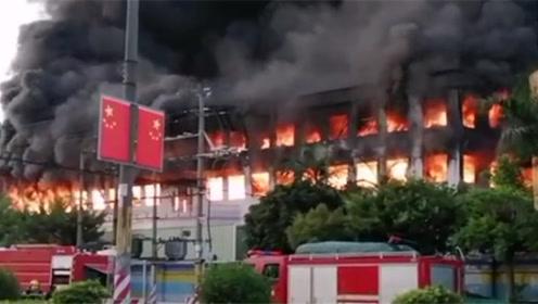 东莞一工厂突发大火 火舌吞噬整栋大楼